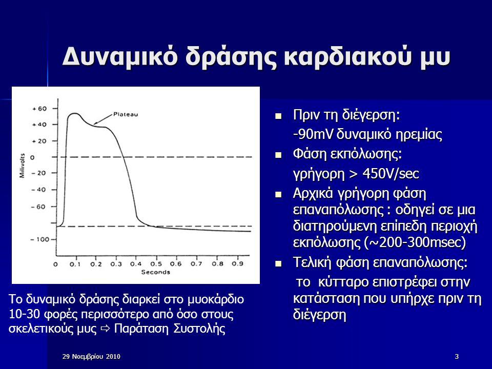 3 Δυναμικό δράσης καρδιακού μυ Πριν τη διέγερση: Πριν τη διέγερση: -90mV δυναμικό ηρεμίας Φάση εκπόλωσης: Φάση εκπόλωσης: γρήγορη > 450V/sec Αρχικά γρ