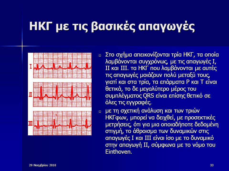 29 Νοεμβρίου 201033 ΗΚΓ με τις βασικές απαγωγές □ Στο σχήμα απεικονίζονται τρία ΗΚΓ, τα οποία λαμβάνονται συγχρόνως, με τις απαγωγές Ι, ΙΙ και ΙΙΙ. τα