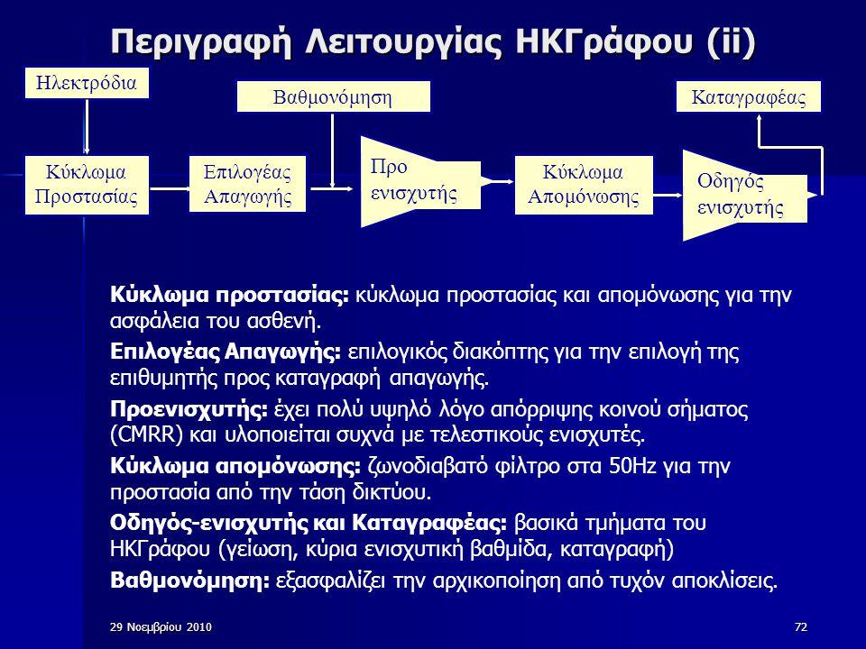 72 Περιγραφή Λειτουργίας ΗΚΓράφου (ii) Κύκλωμα προστασίας: κύκλωμα προστασίας και απομόνωσης για την ασφάλεια του ασθενή. Επιλογέας Απαγωγής: επιλογικ