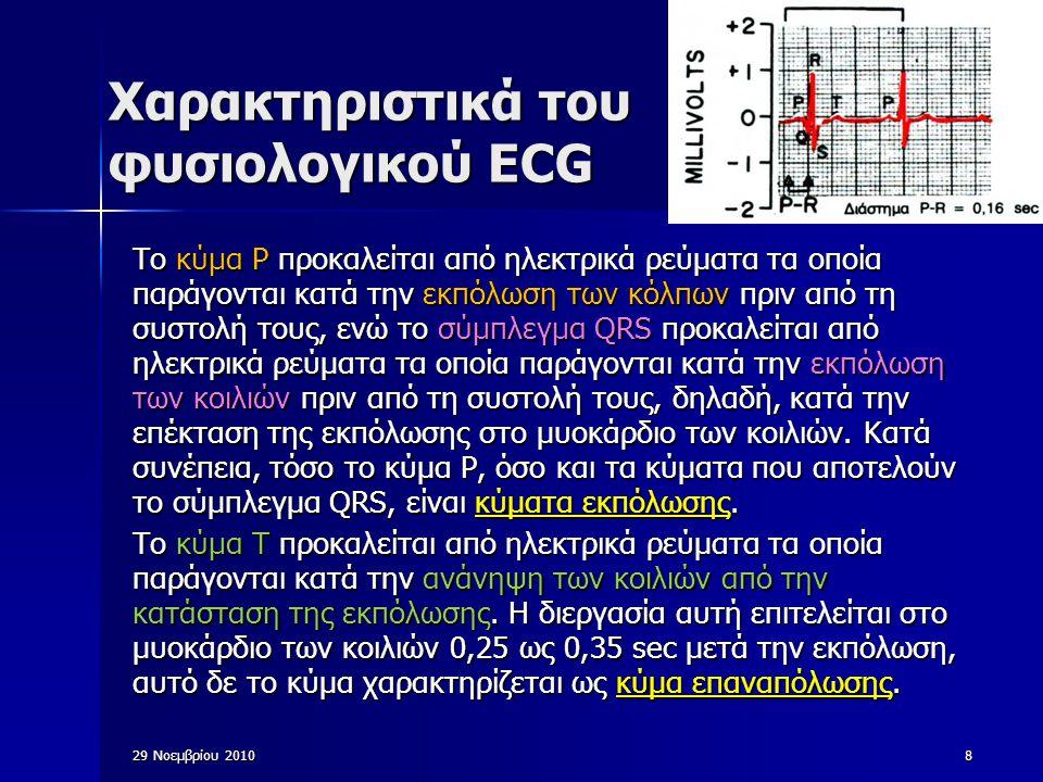29 Νοεμβρίου 201039 Βλάβες της Καρδιάς (i) Ισχαιμία του μυοκαρδίου: στένωση μιας μεγάλης στεφανιαίας αρτηρίας  ελάττωση στη ροή του αίματος  υπολειτουργία του μυοκαρδίου Συνήθως εκδηλώνεται με μεταβολές του ST ή του Τ: Αρνητικό κύμα Τ και συμμετρικό στις απαγωγές όπου φυσιολογικά είναι θετικό.