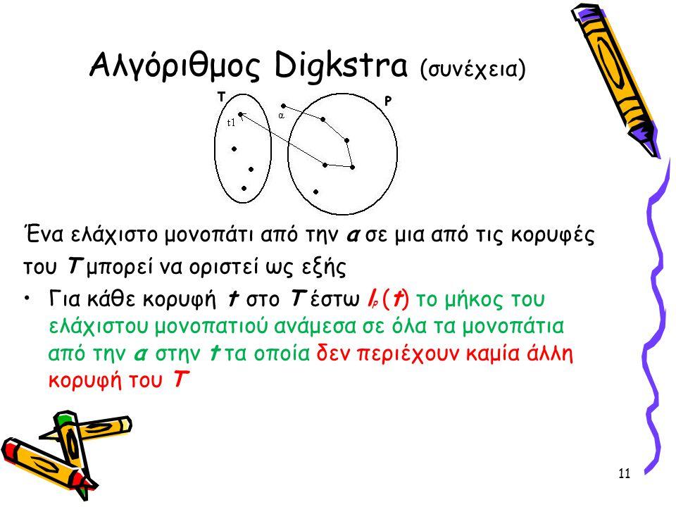 Ένα ελάχιστο μονοπάτι από την α σε μια από τις κορυφές του Τ μπορεί να οριστεί ως εξής Για κάθε κορυφή t στο T έστω l p (t) το μήκος του ελάχιστου μον