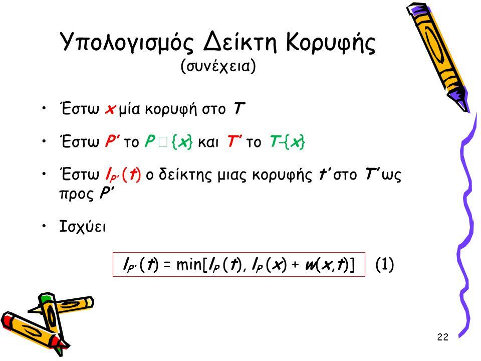 Υπολογισμός Δείκτη Κορυφής (συνέχεια) Έστω x μία κορυφή στο Τ Έστω P' το P  {x} και Τ' το T-{x} Έστω l P' (t) o δείκτης μιας κορυφής t' στο Τ' ως προ