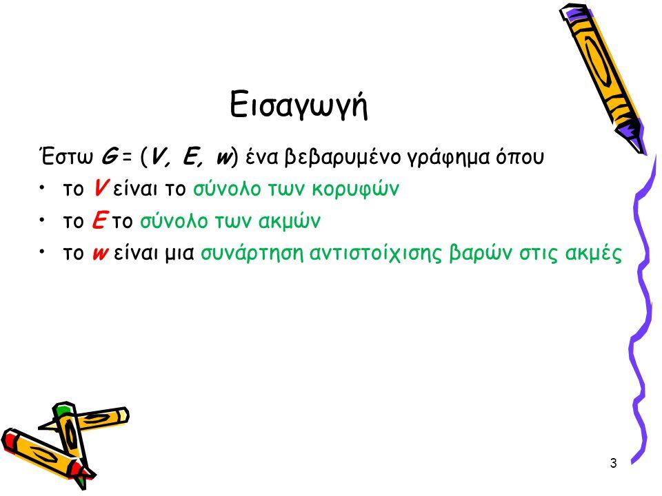 Εισαγωγή Έστω G = (V, E, w) ένα βεβαρυμένο γράφημα όπου το V είναι το σύνολο των κορυφών το Ε το σύνολο των ακμών το w είναι μια συνάρτηση αντιστοίχισ
