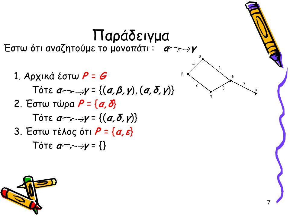 7 Παράδειγμα Έστω ότι αναζητούμε το μονοπάτι : α p γ 1. Αρχικά έστω P = G Τότε α p γ = {(α,β,γ), (α,δ,γ)} 2. Έστω τώρα P = {α,δ} Τότε α p γ = {(α,δ,γ)