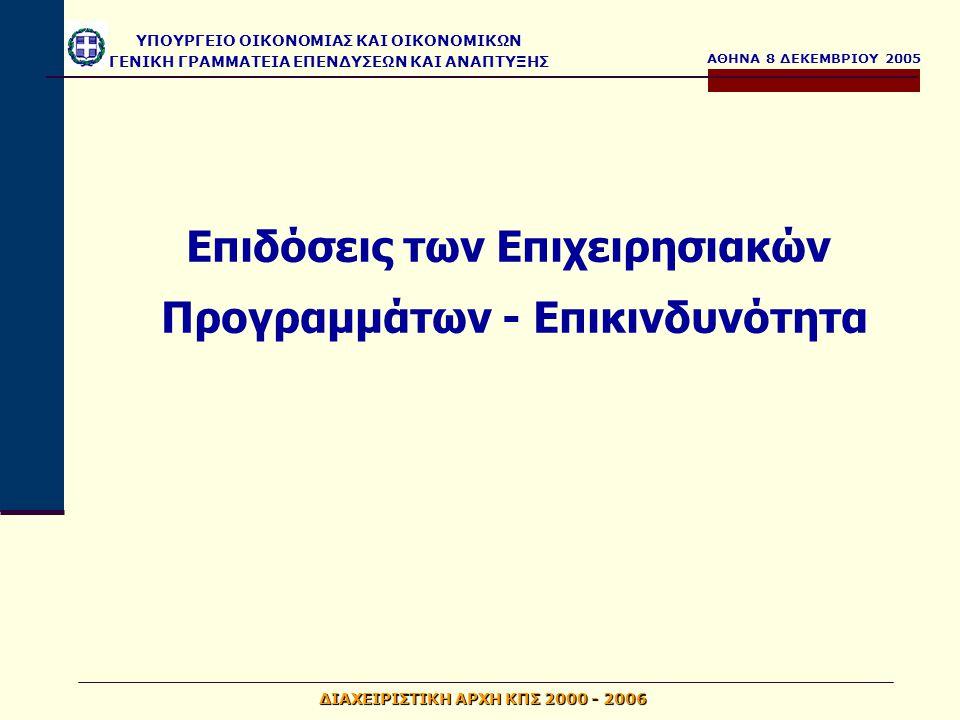 ΑΘΗΝΑ 8 ΔΕΚΕΜΒΡΙΟΥ 2005 ΥΠΟΥΡΓΕΙΟ ΟΙΚΟΝΟΜΙΑΣ ΚΑΙ ΟΙΚΟΝΟΜΙΚΩΝ ΓΕΝΙΚΗ ΓΡΑΜΜΑΤΕΙΑ ΕΠΕΝΔΥΣΕΩΝ ΚΑΙ ΑΝΑΠΤΥΞΗΣ ΔΙΑΧΕΙΡΙΣΤΙΚΗ ΑΡΧΗ ΚΠΣ 2000 - 2006 Επιδόσεις των Επιχειρησιακών Προγραμμάτων - Επικινδυνότητα