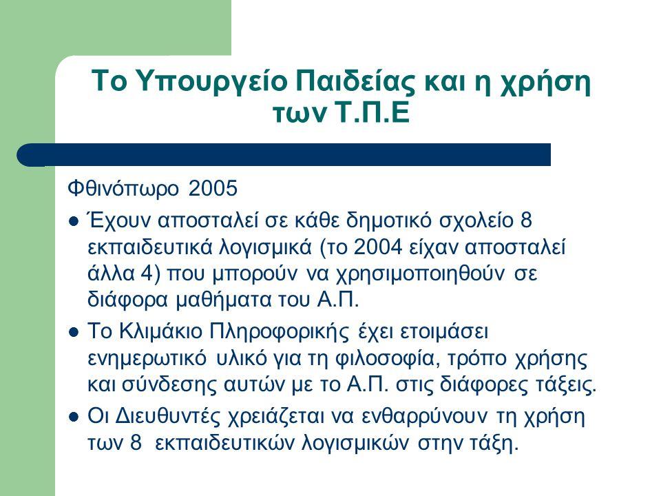 Το Υπουργείο Παιδείας και η χρήση των Τ.Π.Ε Φθινόπωρο 2005 Έχουν αποσταλεί σε κάθε δημοτικό σχολείο 8 εκπαιδευτικά λογισμικά (το 2004 είχαν αποσταλεί άλλα 4) που μπορούν να χρησιμοποιηθούν σε διάφορα μαθήματα του Α.Π.