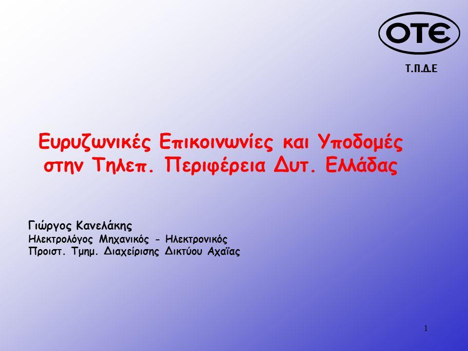 Τ.Π.Δ.Ε 1 Ευρυζωνικές Επικοινωνίες και Υποδομές στην Τηλεπ.