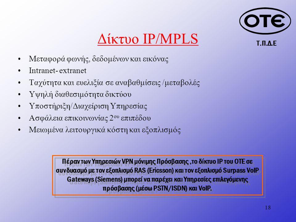 Τ.Π.Δ.Ε 18 Δίκτυο IP/MPLS Μεταφορά φωνής, δεδομένων και εικόνας Ιntranet- extranet Ταχύτητα και ευελιξία σε αναβαθμίσεις /μεταβολές Υψηλή διαθεσιμότητα δικτύου Υποστήριξη/Διαχείριση Υπηρεσίας Ασφάλεια επικοινωνίας 2 ου επιπέδου Μειωμένα λειτουργικά κόστη και εξοπλισμός Πέραν των Υπηρεσιών VPN μόνιμης Πρόσβασης,το δίκτυο IP του ΟΤΕ σε συνδυασμό με τον εξοπλισμό RAS (Ericsson) και τον εξοπλισμό Surpass VoIP Gateways (Siemens) μπορεί να παρέχει και Υπηρεσίες επιλεγόμενης πρόσβασης (μέσω PSTN/ISDN) και VoIP.