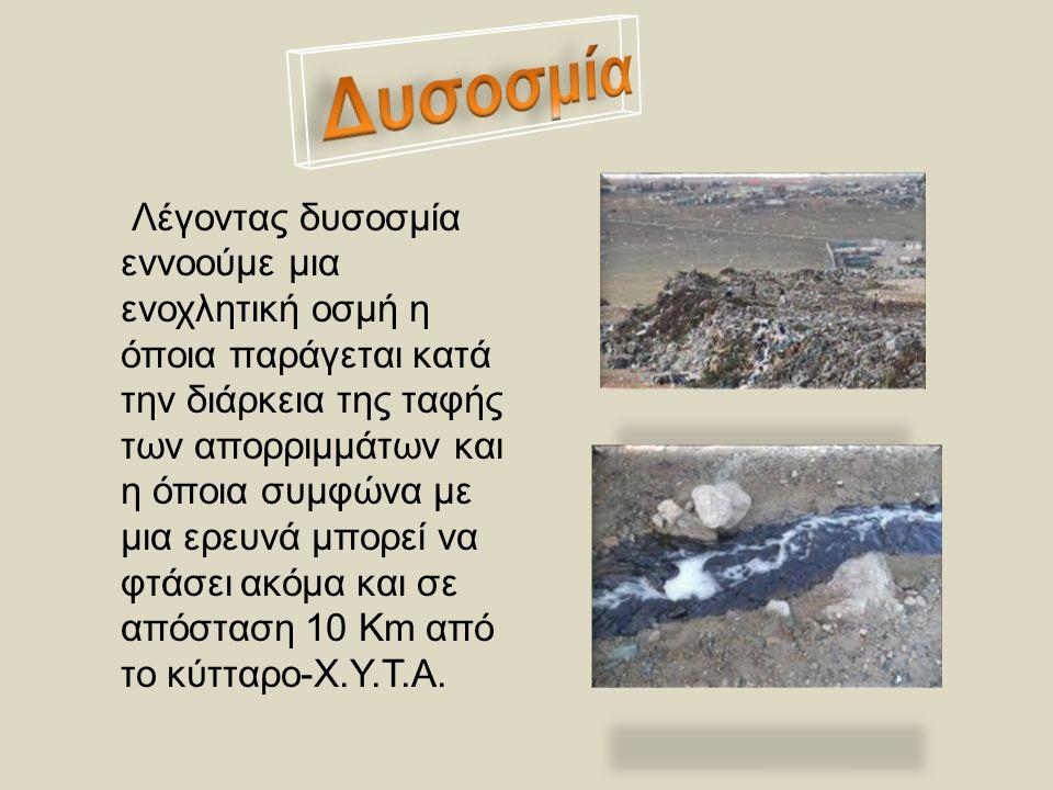 1)Διάχυση ενεργών συστατικών στον αέρα.2) Κατασκευή ΧΥΤΑ μακριά από κατοικημένες περιοχές.