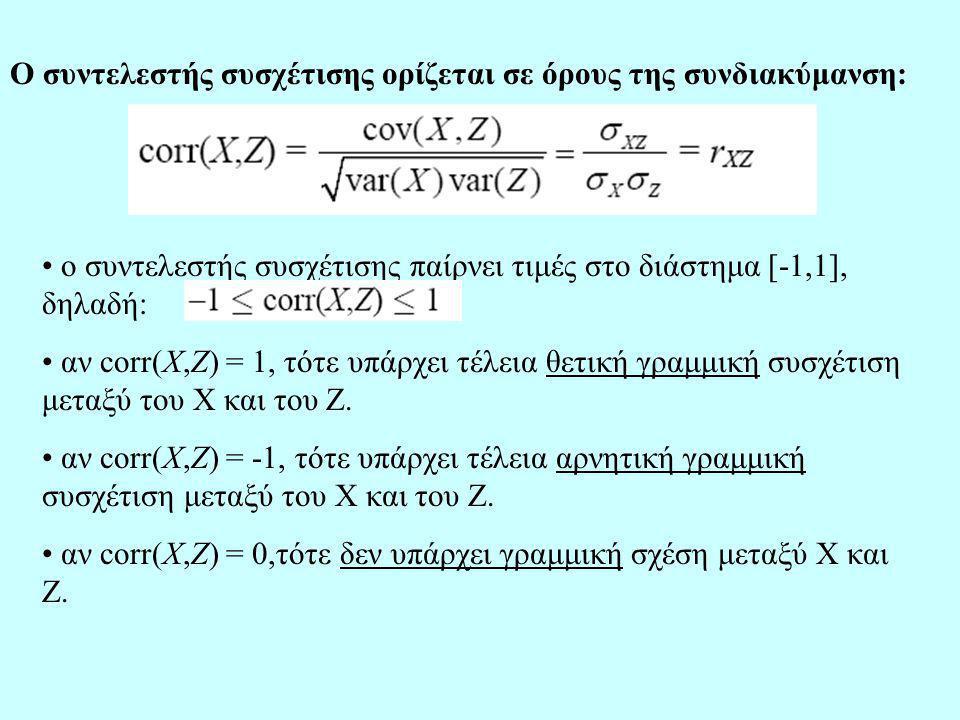 Ο συντελεστής συσχέτισης ορίζεται σε όρους της συνδιακύμανση: ο συντελεστής συσχέτισης παίρνει τιμές στο διάστημα [-1,1], δηλαδή: αν corr(X,Z) = 1, τότε υπάρχει τέλεια θετική γραμμική συσχέτιση μεταξύ του Χ και του Ζ.