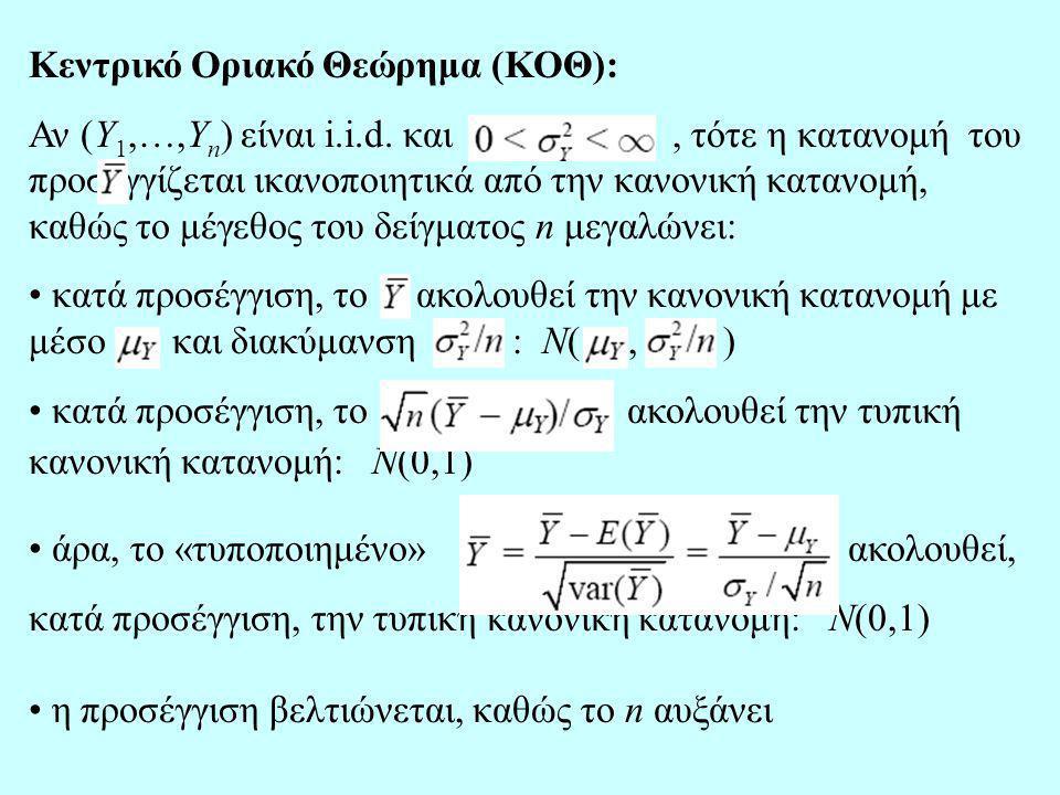 Κεντρικό Οριακό Θεώρημα (ΚΟΘ): Αν (Y 1,…,Y n ) είναι i.i.d. και, τότε η κατανομή του προσεγγίζεται ικανοποιητικά από την κανονική κατανομή, καθώς το μ