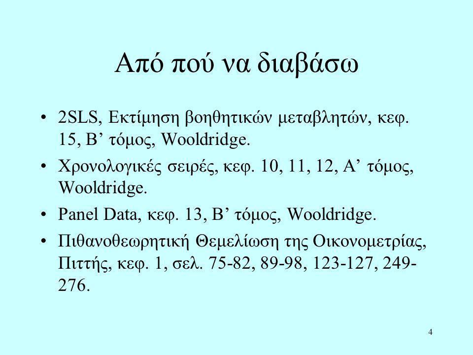 Από πού να διαβάσω 2SLS, Εκτίμηση βοηθητικών μεταβλητών, κεφ. 15, Β' τόμος, Wooldridge. Χρονολογικές σειρές, κεφ. 10, 11, 12, Α' τόμος, Wooldridge. Pa