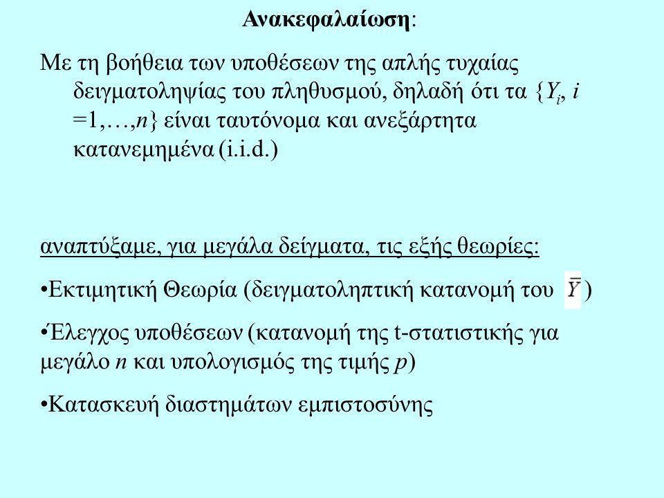 Ανακεφαλαίωση: Με τη βοήθεια των υποθέσεων της απλής τυχαίας δειγματοληψίας του πληθυσμού, δηλαδή ότι τα {Y i, i =1,…,n} είναι ταυτόνομα και ανεξάρτητα κατανεμημένα (i.i.d.) αναπτύξαμε, για μεγάλα δείγματα, τις εξής θεωρίες: Εκτιμητική Θεωρία (δειγματοληπτική κατανομή του ) Έλεγχος υποθέσεων (κατανομή της t-στατιστικής για μεγάλο n και υπολογισμός της τιμής p) Κατασκευή διαστημάτων εμπιστοσύνης