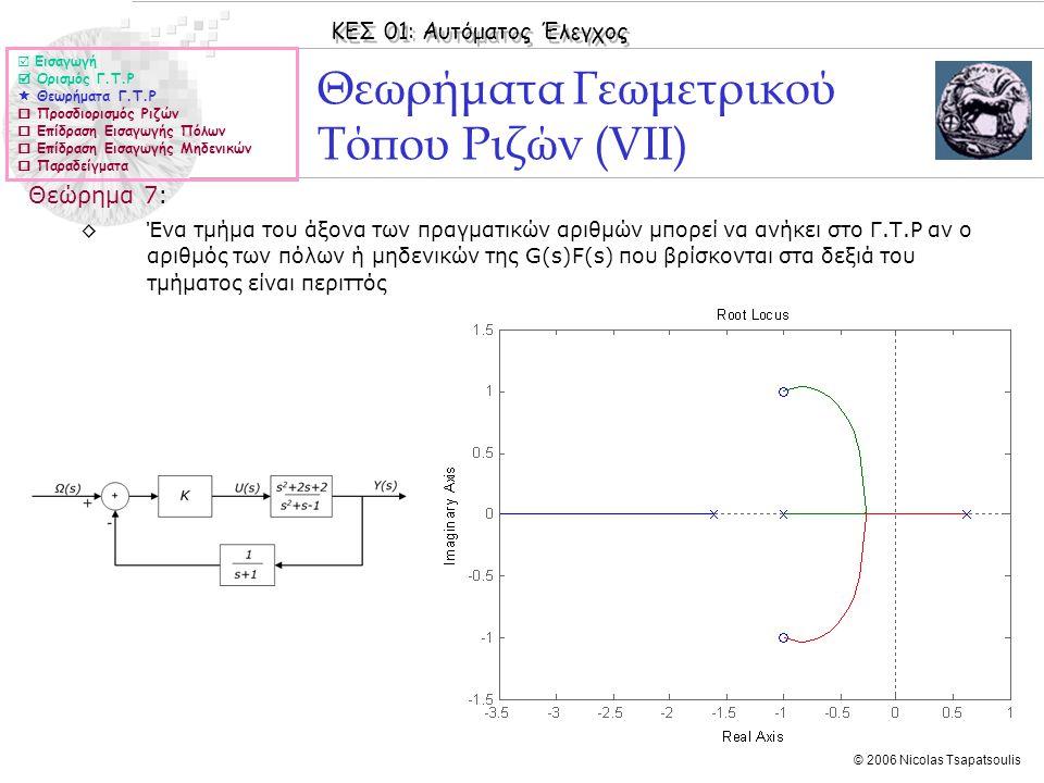 ΚΕΣ 01: Αυτόματος Έλεγχος © 2006 Nicolas Tsapatsoulis Θεωρήματα Γεωμετρικού Τόπου Ριζών (VΙΙ) Θεώρημα 7: ◊Ένα τμήμα του άξονα των πραγματικών αριθμών