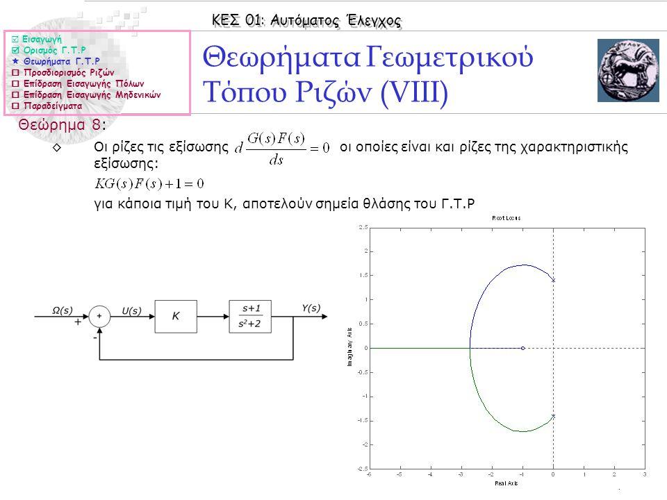 ΚΕΣ 01: Αυτόματος Έλεγχος © 2006 Nicolas Tsapatsoulis Θεωρήματα Γεωμετρικού Τόπου Ριζών (VΙΙΙ) Θεώρημα 8: ◊Οι ρίζες τις εξίσωσης οι οποίες είναι και ρ