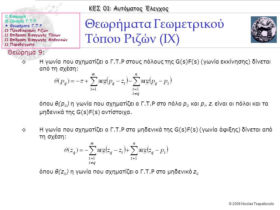ΚΕΣ 01: Αυτόματος Έλεγχος © 2006 Nicolas Tsapatsoulis Θεωρήματα Γεωμετρικού Τόπου Ριζών (ΙX) Θεώρημα 9: ◊Η γωνία που σχηματίζει ο Γ.Τ.Ρ στους πόλους τ