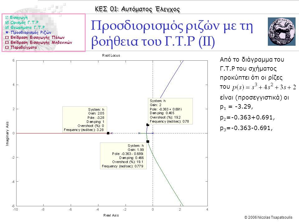 ΚΕΣ 01: Αυτόματος Έλεγχος © 2006 Nicolas Tsapatsoulis Προσδιορισμός ριζών με τη βοήθεια του Γ.Τ.Ρ (ΙΙ)  Εισαγωγή  Ορισμός Γ.Τ.Ρ  Θεωρήματα Γ.Τ.Ρ 