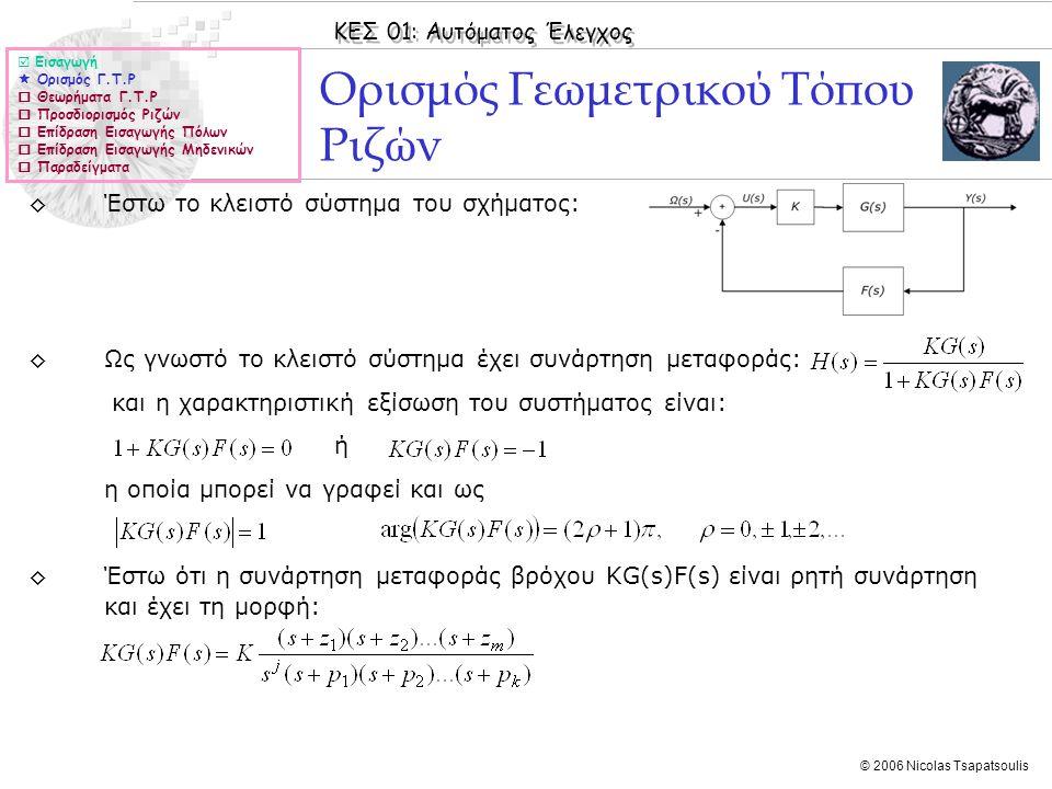 ΚΕΣ 01: Αυτόματος Έλεγχος © 2006 Nicolas Tsapatsoulis Ορισμός Γεωμετρικού Τόπου Ριζών ◊Έστω το κλειστό σύστημα του σχήματος: ◊Ως γνωστό το κλειστό σύσ