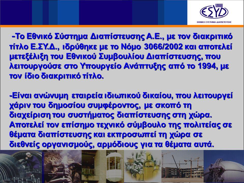 - Το Εθνικό Σύστημα Διαπίστευσης A.E., με τον διακριτικό τίτλο E.ΣY.Δ., ιδρύθηκε με το Νόμο 3066/2002 και αποτελεί μετεξέλιξη του Εθνικού Συμβουλίου Δ
