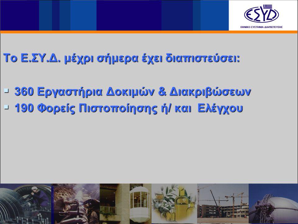 Το Ε.ΣΥ.Δ. μέχρι σήμερα έχει διαπιστεύσει:  360 Εργαστήρια Δοκιμών & Διακριβώσεων  190 Φορείς Πιστοποίησης ή/ και Ελέγχου