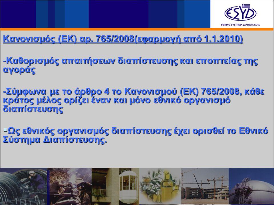 Κανονισμός (ΕΚ) αρ. 765/2008(εφαρμογή από 1.1.2010) -Καθορισμός απαιτήσεων διαπίστευσης και εποπτείας της αγοράς -Σύμφωνα με το άρθρο 4 το Κανονισμού