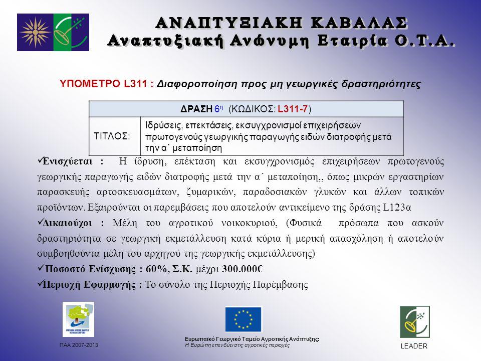 ΠΑΑ 2007-2013 Ευρωπαϊκό Γεωργικό Ταμείο Αγροτικής Ανάπτυξης: Η Ευρώπη επενδύει στις αγροτικές περιοχές LEADER ΥΠΟΜΕΤΡΟ L311 : Διαφοροποίηση προς μη γεωργικές δραστηριότητες Ενισχύεται : Η ίδρυση, επέκταση και εκσυγχρονισμός επιχειρήσεων πρωτογενούς γεωργικής παραγωγής ειδών διατροφής μετά την α΄ μεταποίηση,, όπως μικρών εργαστηρίων παρασκευής αρτοσκευασμάτων, ζυμαρικών, παραδοσιακών γλυκών και άλλων τοπικών προϊόντων.