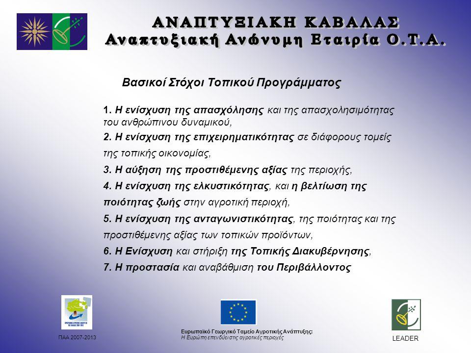 ΠΑΑ 2007-2013 Ευρωπαϊκό Γεωργικό Ταμείο Αγροτικής Ανάπτυξης: Η Ευρώπη επενδύει στις αγροτικές περιοχές LEADER Βασικοί Στόχοι Τοπικού Προγράμματος 1.