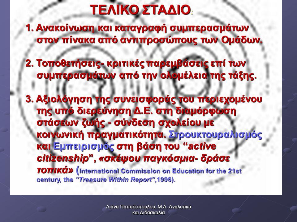Λιάνα Παπαδοπούλου, Μ.Α. Αναλυτικά και Διδασκαλία ΤΕΛΙΚΟ ΣΤΑΔΙΟ : 1.