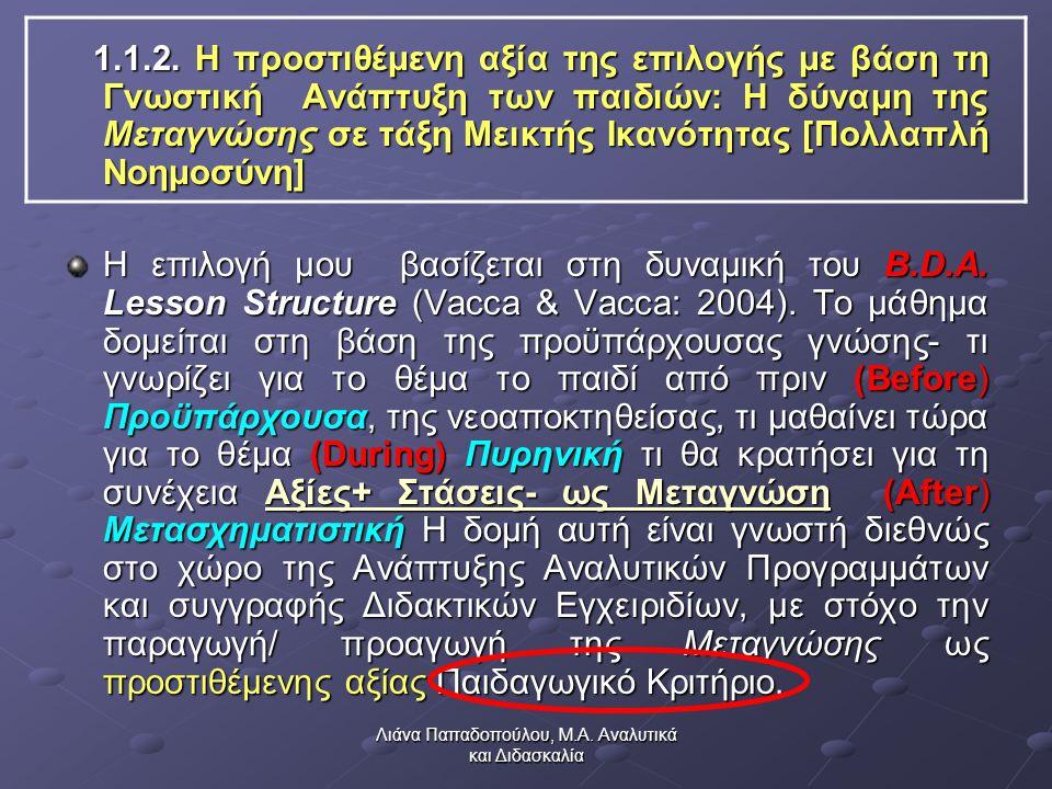Λιάνα Παπαδοπούλου, Μ.Α. Αναλυτικά και Διδασκαλία 1.1.2.