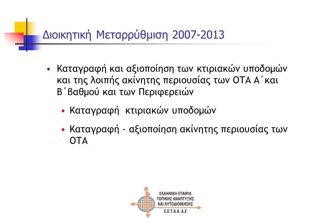 Διοικητική Μεταρρύθμιση 2007-2013 Καταγραφή και αξιοποίηση των κτιριακών υποδομών και της λοιπής ακίνητης περιουσίας των ΟΤΑ Α΄και Β΄βαθμού και των Περιφερειών Καταγραφή κτιριακών υποδομών Καταγραφή - αξιοποίηση ακίνητης περιουσίας των ΟΤΑ