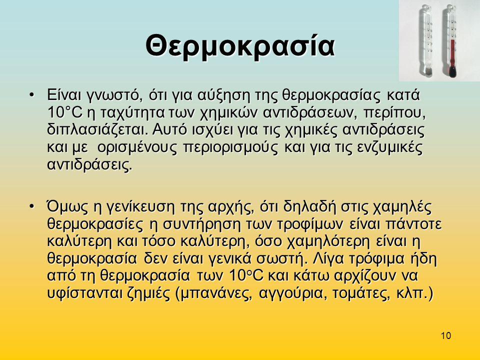 10 Θερμοκρασία Είναι γνωστό, ότι για αύξηση της θερμοκρασίας κατά 10°C η ταχύτητα των χημικών αντιδράσεων, περίπου, διπλασιάζεται. Αυτό ισχύει για τις
