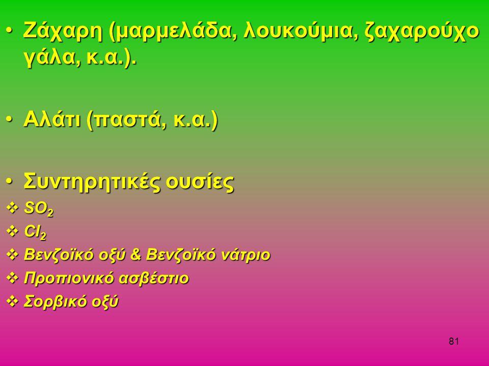 81 Ζάχαρη (μαρμελάδα, λουκούμια, ζαχαρούχο γάλα, κ.α.).Ζάχαρη (μαρμελάδα, λουκούμια, ζαχαρούχο γάλα, κ.α.). Αλάτι (παστά, κ.α.)Αλάτι (παστά, κ.α.) Συν