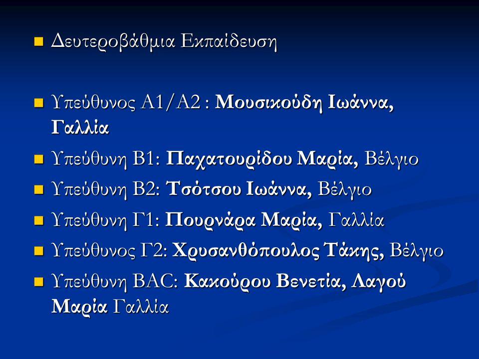 Δευτεροβάθμια Εκπαίδευση Δευτεροβάθμια Εκπαίδευση Υπεύθυνος Α1/Α2 : Μουσικούδη Ιωάννα, Γαλλία Υπεύθυνος Α1/Α2 : Μουσικούδη Ιωάννα, Γαλλία Υπεύθυνη Β1: Παχατουρίδου Μαρία, Βέλγιο Υπεύθυνη Β1: Παχατουρίδου Μαρία, Βέλγιο Υπεύθυνη Β2: Τσότσου Ιωάννα, Βέλγιο Υπεύθυνη Β2: Τσότσου Ιωάννα, Βέλγιο Υπεύθυνη Γ1: Πουρνάρα Μαρία, Γαλλία Υπεύθυνη Γ1: Πουρνάρα Μαρία, Γαλλία Υπεύθυνος Γ2: Χρυσανθόπουλος Τάκης, Βέλγιο Υπεύθυνος Γ2: Χρυσανθόπουλος Τάκης, Βέλγιο Υπεύθυνη BAC: Κακούρου Βενετία, Λαγού Μαρία Γαλλία Υπεύθυνη BAC: Κακούρου Βενετία, Λαγού Μαρία Γαλλία