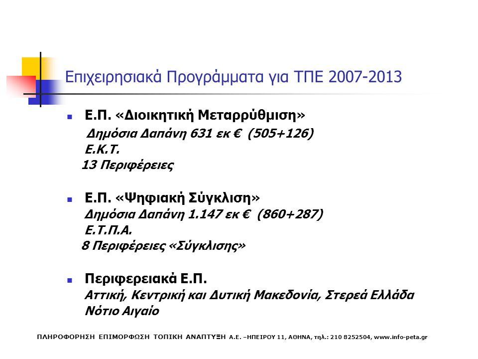 Επιχειρησιακά Προγράμματα για ΤΠΕ 2007-2013 Ε.Π.