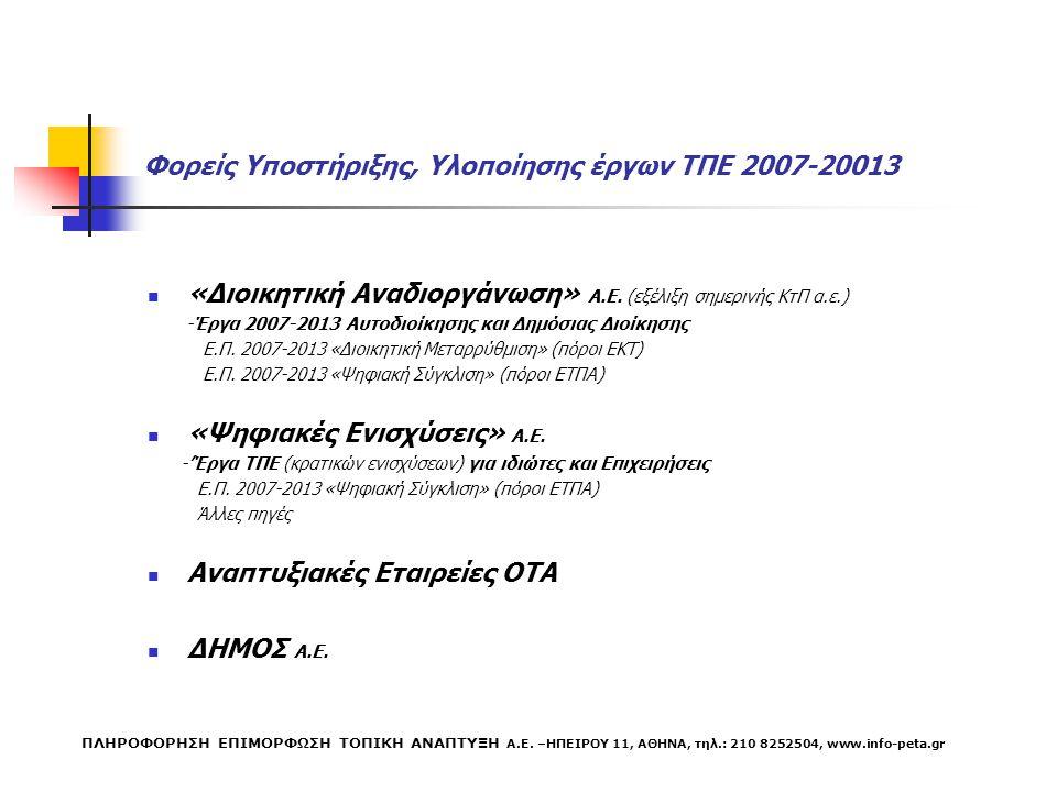 Φορείς Υποστήριξης, Υλοποίησης έργων ΤΠΕ 2007-20013 «Διοικητική Αναδιοργάνωση» Α.Ε.