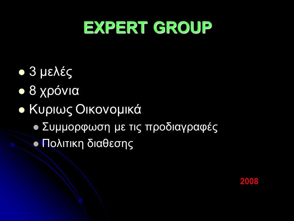 EXPERT GROUP 3 μελές 8 χρόνια Κυριως Οικονομικά Συμμορφωση με τις προδιαγραφές Πολιτικη διαθεσης 2008