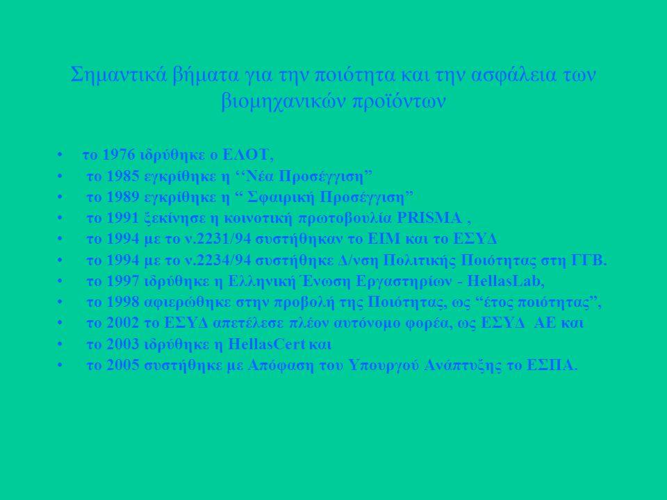 Σημαντικά βήματα για την ποιότητα και την ασφάλεια των βιομηχανικών προϊόντων το 1976 ιδρύθηκε ο ΕΛΟΤ, το 1985 εγκρίθηκε η ''Νέα Προσέγγιση το 1989 εγκρίθηκε η Σφαιρική Προσέγγιση το 1991 ξεκίνησε η κοινοτική πρωτοβουλία PRISMA, το 1994 με το ν.2231/94 συστήθηκαν το ΕΙΜ και το ΕΣΥΔ το 1994 με το ν.2234/94 συστήθηκε Δ/νση Πολιτικής Ποιότητας στη ΓΓΒ.