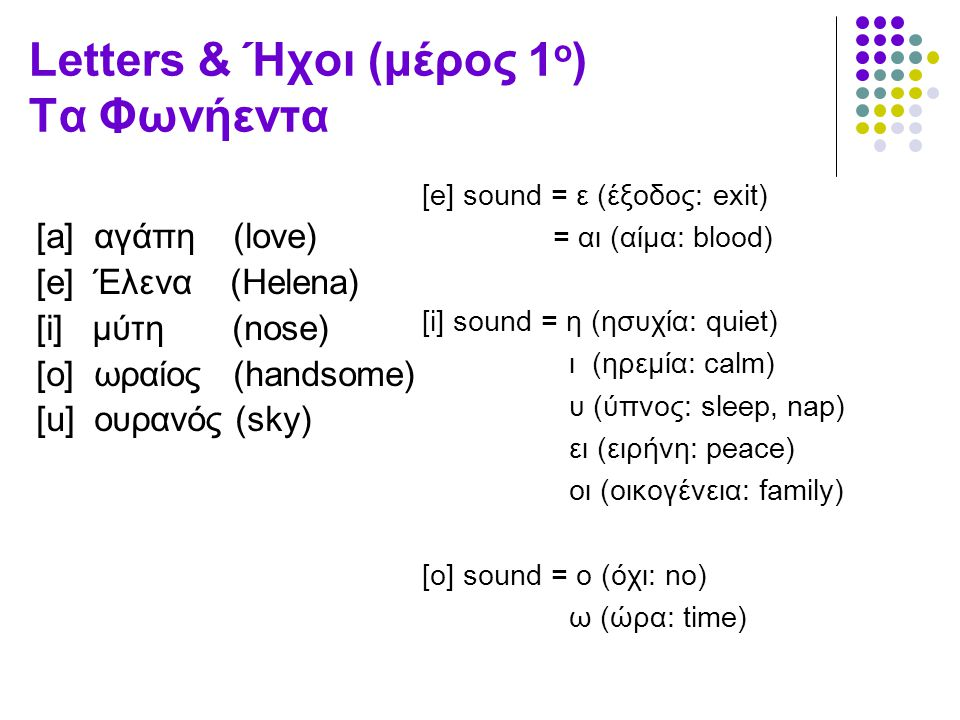 Letters & Ήχοι (μέρος 1 ο ) Τα Φωνήεντα [a] αγάπη (love) [e] Έλενα (Helena) [i] μύτη (nose) [o] ωραίος (handsome) [u] ουρανός (sky) [e] sound = ε (έξο
