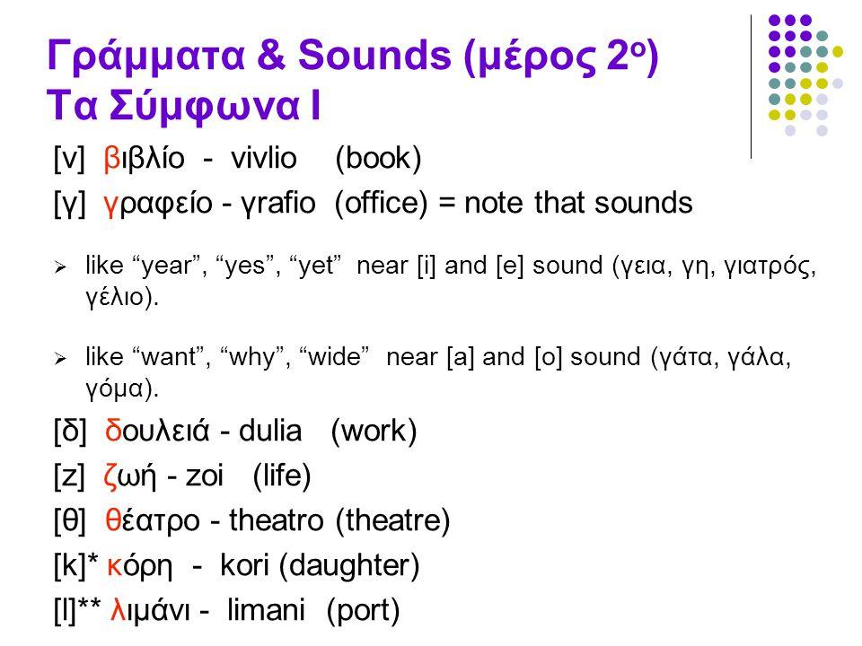 """Γράμματα & Sounds (μέρος 2 ο ) Τα Σύμφωνα Ι [v] βιβλίο - vivlio (book) [γ] γραφείο - γrafio (office) = note that sounds  like """"year"""", """"yes"""", """"yet"""" ne"""
