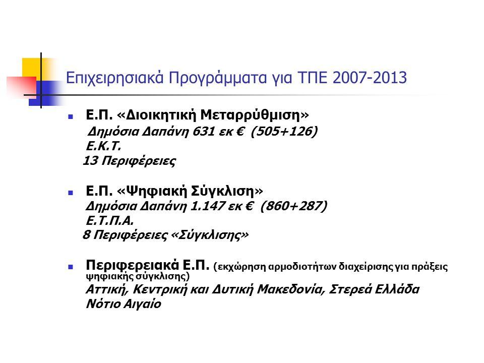 Επιχειρησιακά Προγράμματα για ΤΠΕ 2007-2013 Ε.Π. «Διοικητική Μεταρρύθμιση» Δημόσια Δαπάνη 631 εκ € (505+126) Ε.Κ.Τ. 13 Περιφέρειες Ε.Π. «Ψηφιακή Σύγκλ
