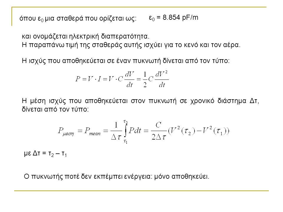 Ασκήσεις εμπέδωσης: 1.Από έναν πυκνωτή χωρητικότητας C περνά ρεύμα Ι = I 0 sin (ωt).