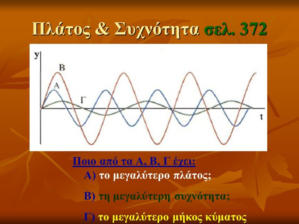 Πλάτος & Συχνότητα σελ. 372 Ποιο από τα Α, Β, Γ έχει: Α) το μεγαλύτερο πλάτος; Β) τη μεγαλύτερη συχνότητα; Γ) το μεγαλύτερο μήκος κύματος