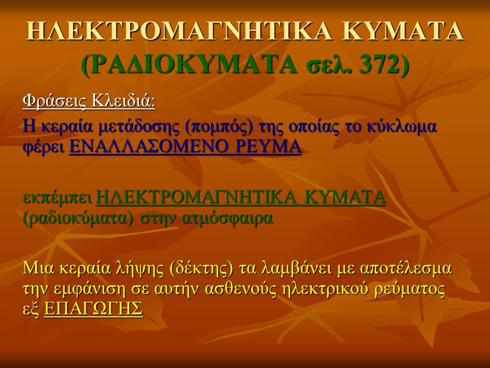 Φράσεις Κλειδιά: Η κεραία μετάδοσης (πομπός) της οποίας το κύκλωμα φέρει ΕΝΑΛΛΑΣΟΜΕΝΟ ΡΕΥΜΑ εκπέμπει ΗΛΕΚΤΡΟΜΑΓΝΗΤΙΚΑ ΚΥΜΑΤΑ (ραδιοκύματα) στην ατμόσφ
