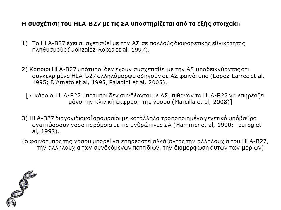 Η συσχέτιση του HLA-B27 με τις ΣΑ υποστηρίζεται από τα εξής στοιχεία: 1)Το HLA-B27 έχει συσχετισθεί με την ΑΣ σε πολλούς διαφορετικής εθνικότητας πληθ
