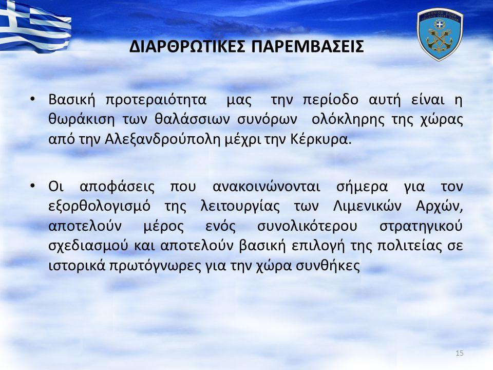 ΔΙΑΡΘΡΩΤΙΚΕΣ ΠΑΡΕΜΒΑΣΕΙΣ Βασική προτεραιότητα μας την περίοδο αυτή είναι η θωράκιση των θαλάσσιων συνόρων ολόκληρης της χώρας από την Αλεξανδρούπολη μέχρι την Κέρκυρα.