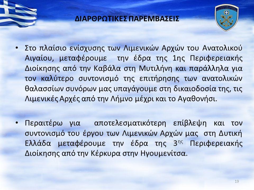 ΔΙΑΡΘΡΩΤΙΚΕΣ ΠΑΡΕΜΒΑΣΕΙΣ Στο πλαίσιο ενίσχυσης των Λιμενικών Αρχών του Ανατολικού Αιγαίου, μεταφέρουμε την έδρα της 1ης Περιφερειακής Διοίκησης από την Καβάλα στη Μυτιλήνη και παράλληλα για τον καλύτερο συντονισμό της επιτήρησης των ανατολικών θαλασσίων συνόρων μας υπαγάγουμε στη δικαιοδοσία της, τις Λιμενικές Αρχές από την Λήμνο μέχρι και το Αγαθονήσι.