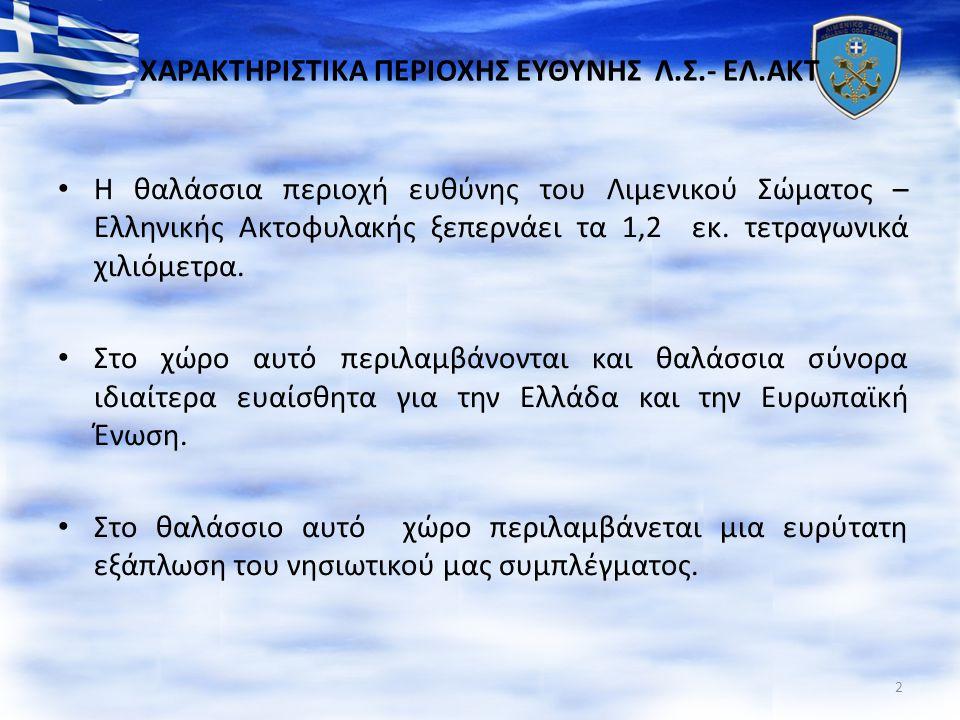 ΧΑΡΑΚΤΗΡΙΣΤΙΚΑ ΠΕΡΙΟΧΗΣ ΕΥΘΥΝΗΣ Λ.Σ.- ΕΛ.ΑΚΤ Η θαλάσσια περιοχή ευθύνης του Λιμενικού Σώματος – Ελληνικής Ακτοφυλακής ξεπερνάει τα 1,2 εκ. τετραγωνικά