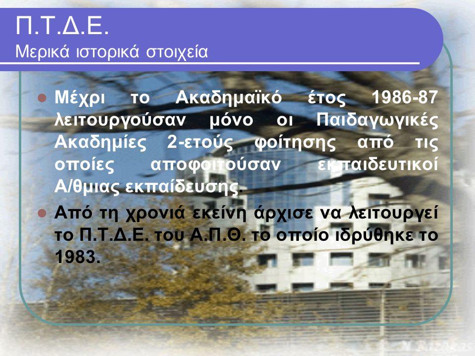 Π.Τ.Δ.Ε. Μερικά ιστορικά στοιχεία Μέχρι το Ακαδημαϊκό έτος 1986-87 λειτουργούσαν μόνο οι Παιδαγωγικές Ακαδημίες 2-ετούς φοίτησης από τις οποίες αποφοι