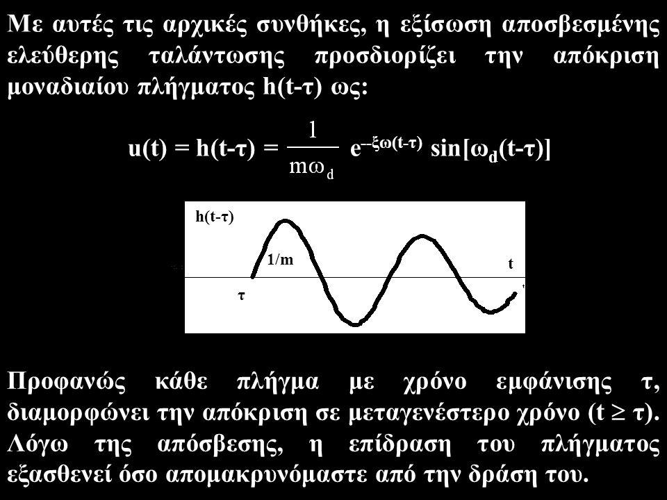 Με αυτές τις αρχικές συνθήκες, η εξίσωση αποσβεσμένης ελεύθερης ταλάντωσης προσδιορίζει την απόκριση μοναδιαίου πλήγματος h(t-τ) ως: u(t) = h(t-τ) = e