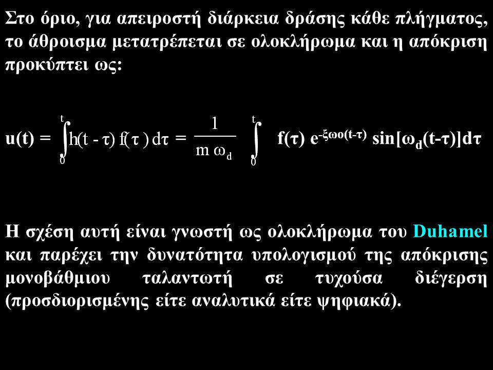 Στο όριο, για απειροστή διάρκεια δράσης κάθε πλήγματος, το άθροισμα μετατρέπεται σε ολοκλήρωμα και η απόκριση προκύπτει ως: u(t) = = f(τ) e -ξωο(t-τ)